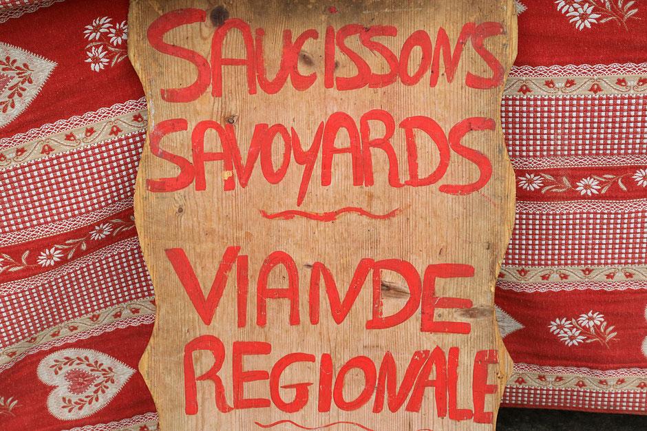 Saucissons Savoyards - Viande régionale. Saint-Gervais-les-Bains. Haute-Savoie.