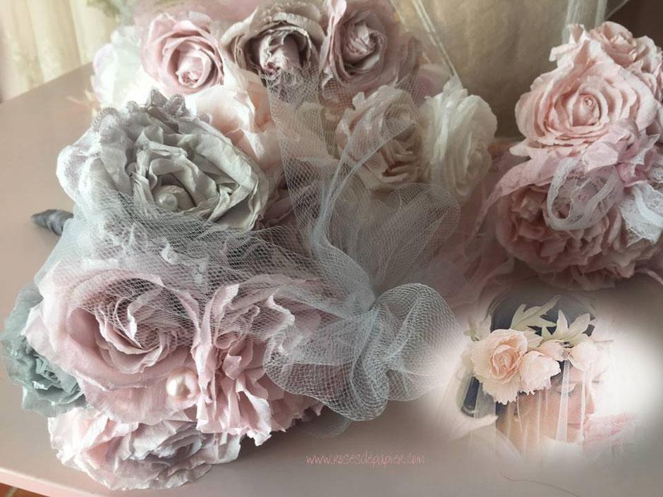 Petite bouquet grise et rose  35 euros