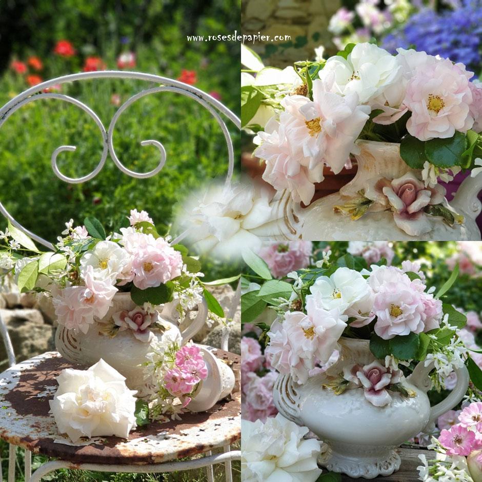 Roses et brocante dans le jardin.