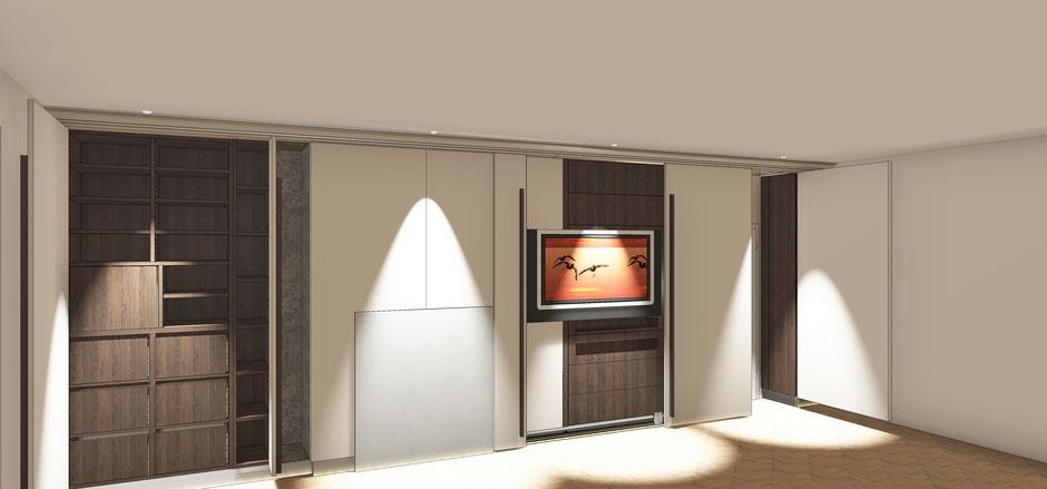 CAD Planung finaler Entwurf mit Visualisierung Wohnzimmer Vertäfelung mit geöffneten Schiebe- und Drehtüren
