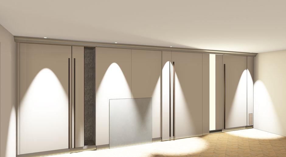 CAD Planung finaler Entwurf mit Visualiserung Wohnzimmer Vertäfelung mit Schiebetüren und versteckten Schränken