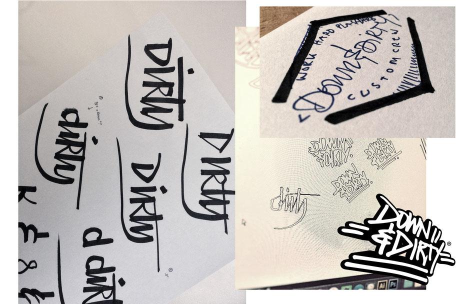 Logo Entwürfe und Scribbles von Zuni, BRAVE & BUTT Designstudio für Down & Dirty Custom Crew