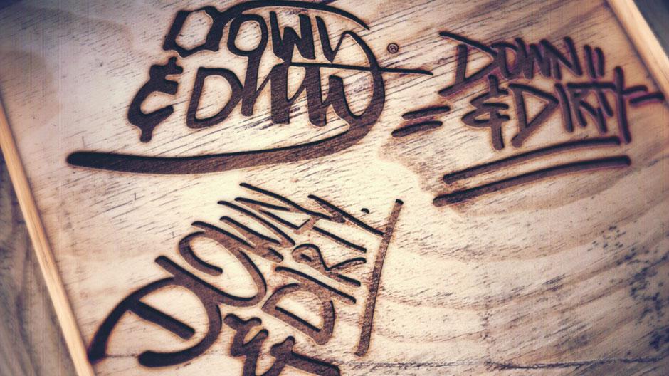 Logo Redesign von BRAVE & BUTT Designstudio für Down & Dirty Custom Crew auf Holz eingebrannt