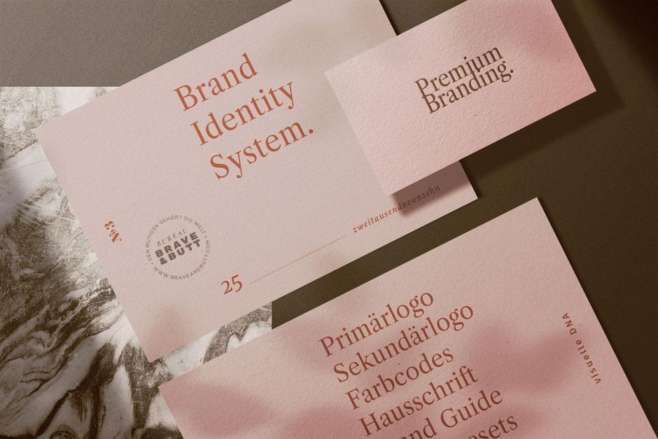 Module für dein Branding: Brand Style Guide, Logo, Primärlogo, Sekundärlogo, Farbpalette, Schriften, digitale Produkte, Social Media Content