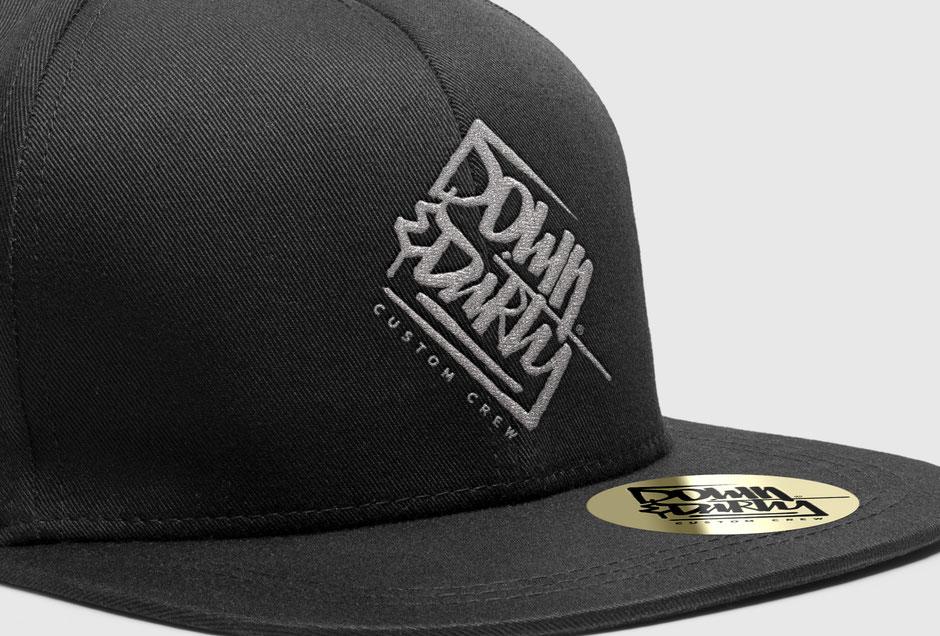 Snapback New Era Cap: Down & Dirty Custom Crew Logo Redesign. By Zuni von BRAVE & BUTT Design.