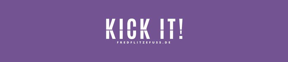 Verktor-Logo-Schriftzug KICK IT für Merchandise. Projekt: Logo Redesign for Fred Flitzefuß Custom. By Zuni from BRAVE & BUTT DESIGN STUDIO