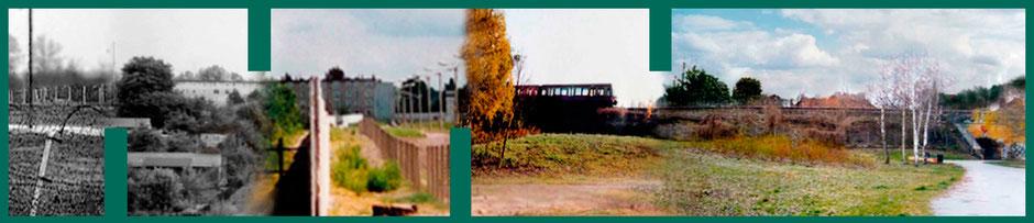 © Angela Stolle, KGA Vogelsang 2 e.V., Ehemaliger Grenzstreifen 1961 mit Stacheldraht / Heute 2016 ist Treptow und Neukölln zu einer Grünfläche zusammengewachsen. © Angela Stolle