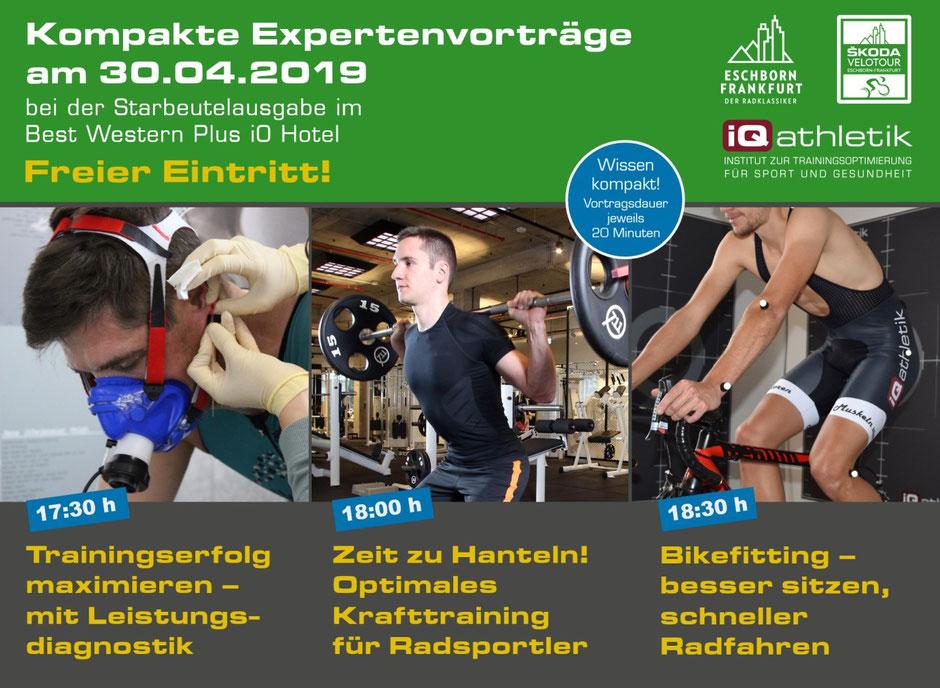 Expertenvorträge zu Leistungsdiagnostik, Bikefitting und Krafttraining für Radsportler im Rahmen des Radklassikers Eschborn-Frankfurt