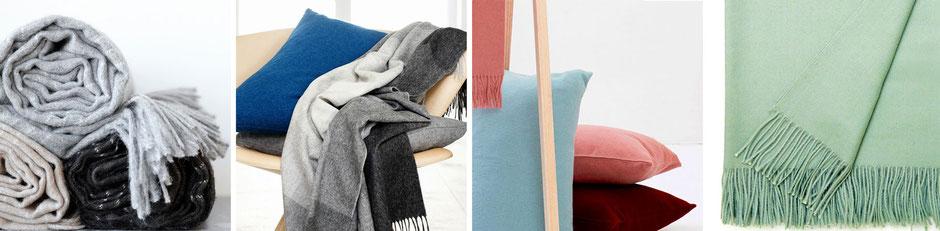 Kuschelige Decken und Kissen aus Alpaka- und Schafwolle von Elvang Denmark