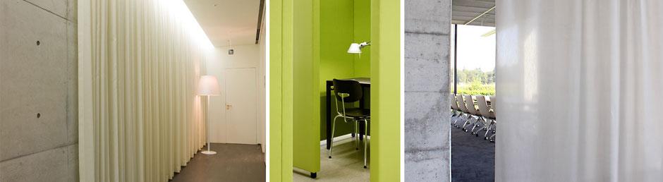 Moderne, formschöne Akustikelemente und Akustikvorhänge von Création Baumann