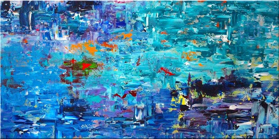 Burk Art Wandbild 120 x 60 cm mit Spachteltechnik. Dicke Farbschichten in Blau, Türkis, Purple und Akzenten in Orange, Gelb, Rot und Grün.