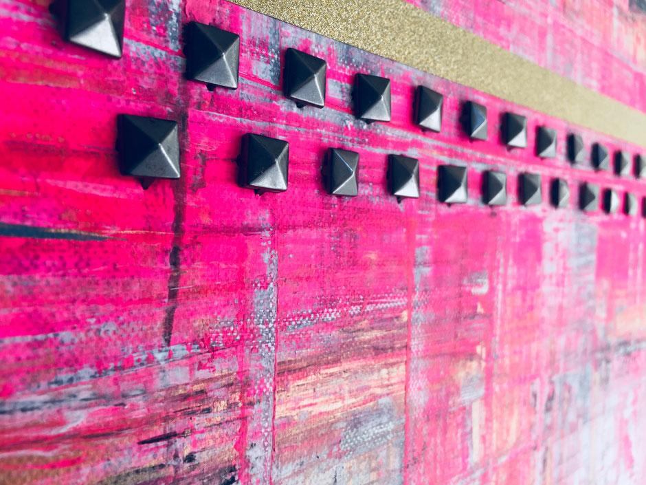 Nieten Kunst Special Acryl auf Leinwand pink grau schwarze Nieten