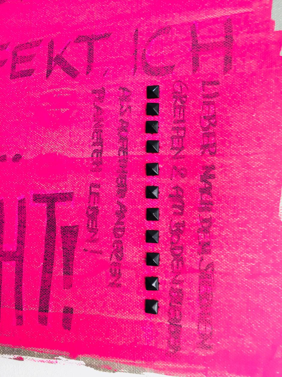 Nieten Kunst Special Acryl auf Leinwand pink silber schwarze Nieten