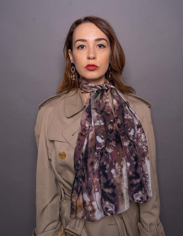 wisteria elegant crepe de chine silk scarf