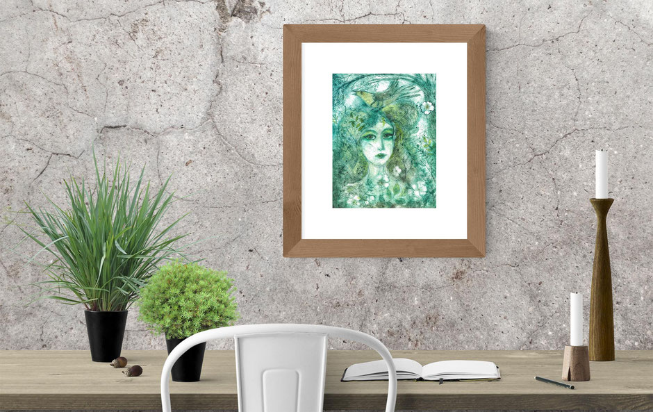hedgewitch wise Bohemian beautiful witch forest with cuckoo drypoint etching art print