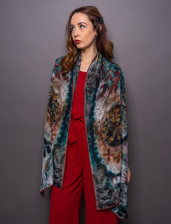 moth crepe de chene luxury designer silk scarf