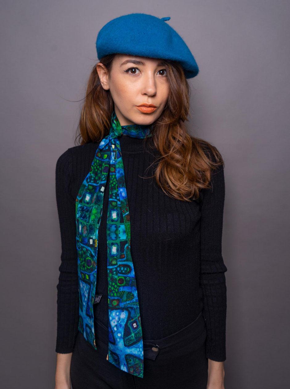 skinny gaudi blue luxury designer silk scarf