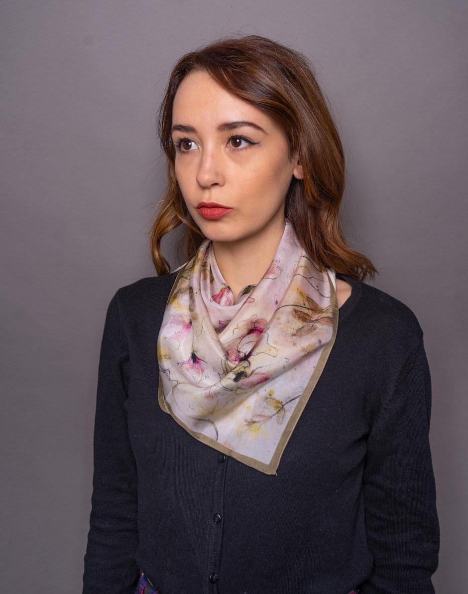 peaseblossoms habotai designer silk scarf