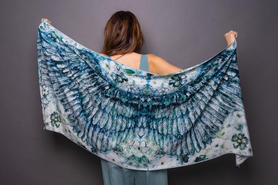bard cupids wings cerulean luxury designer silk scarf
