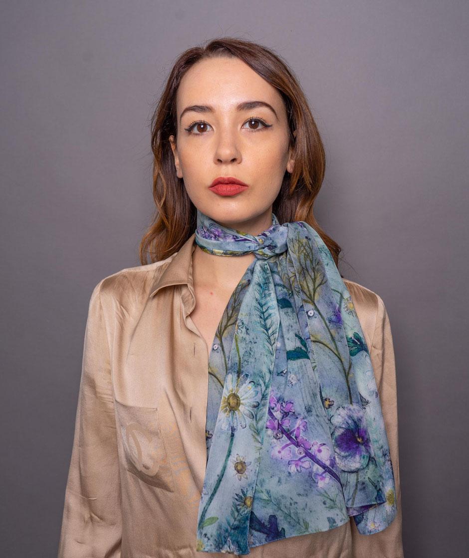 melancholy flowers elegant crepe de chine silk scarf