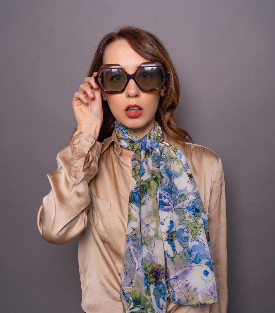 briar roses crepe de chine luxurious designer silk scarf