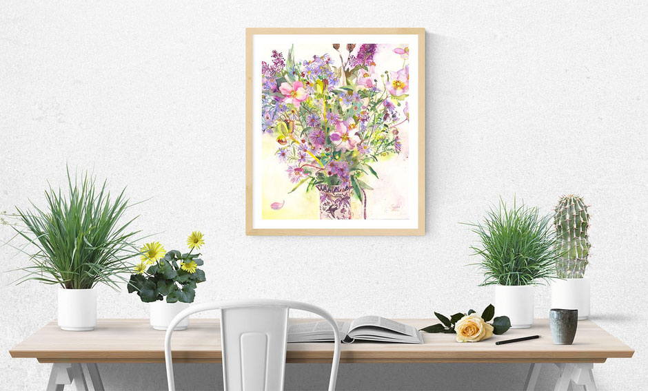 august bouquet autumnal flowers and foliage floral artwork print