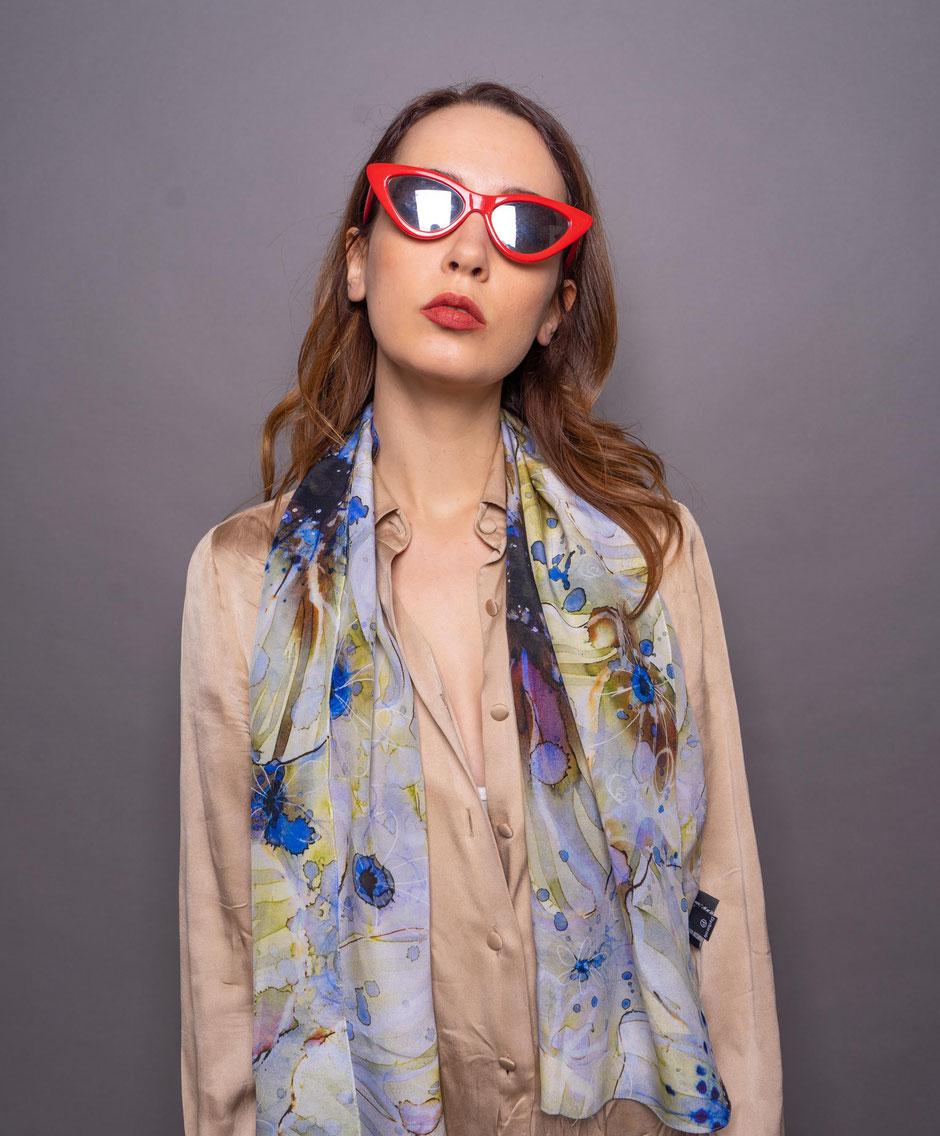 inky anemones crepe de chine luxurious designer silk scarf