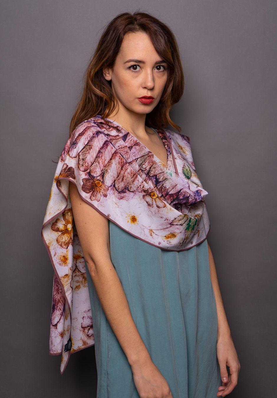 cupids wings rosa luxury designer silk scarf