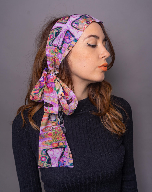 skinny gaudi rosa luxury designer silk scarf