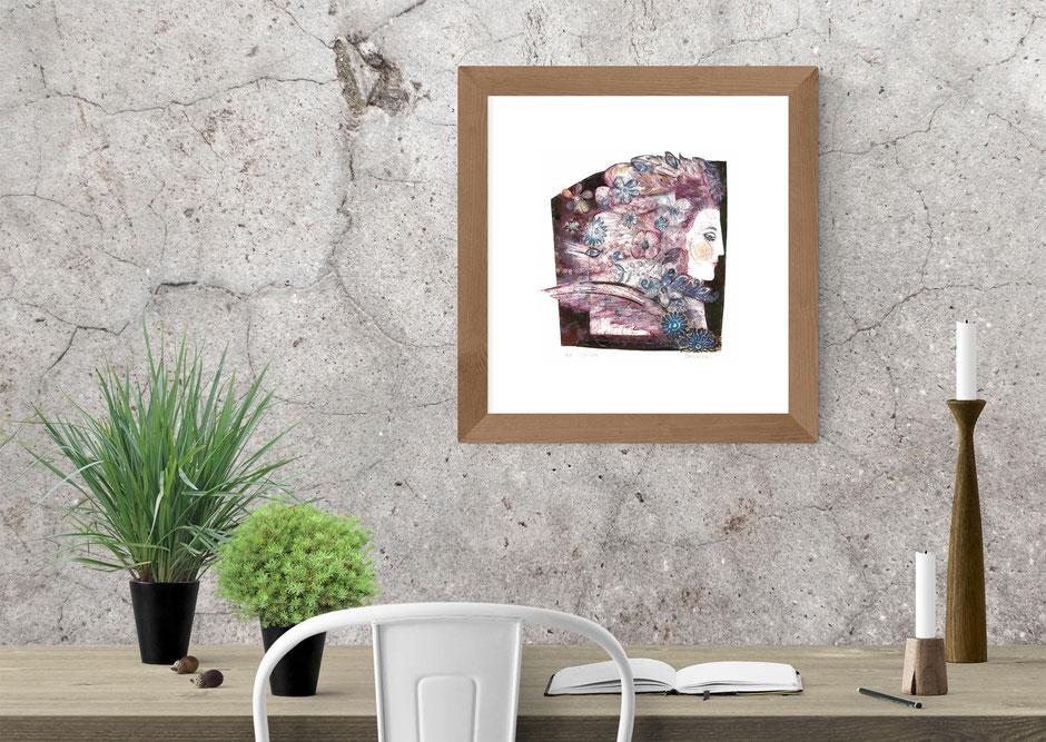 damson celilia mystical Bohemian winged lady collagraph art print