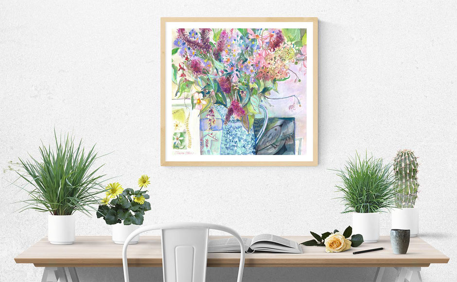 hedgebird bouquet autumnal flowers and foliage artwork print