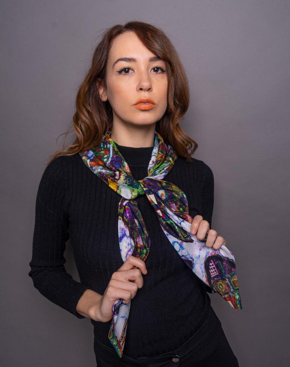 gaudy gaudi luxury designer silk scarf
