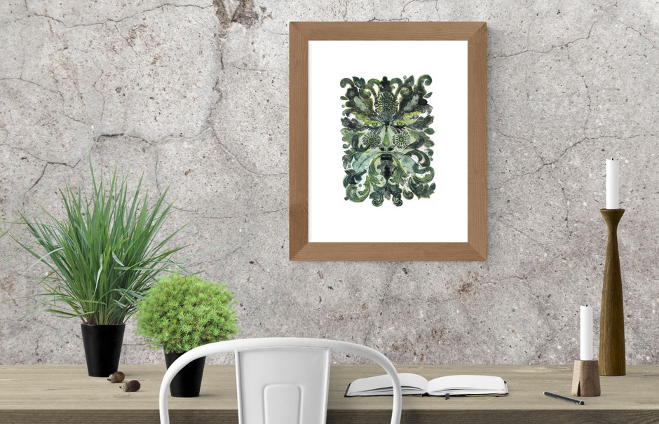 mysterious green man leaves foliage face collagraph art print