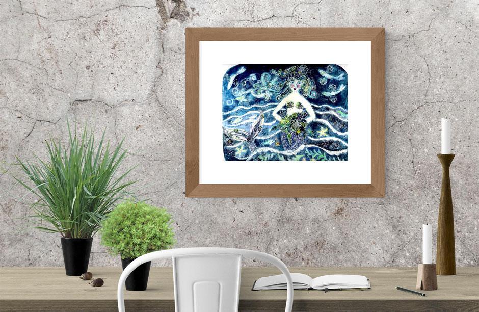 marina melancholy mermaid bride collagraph print