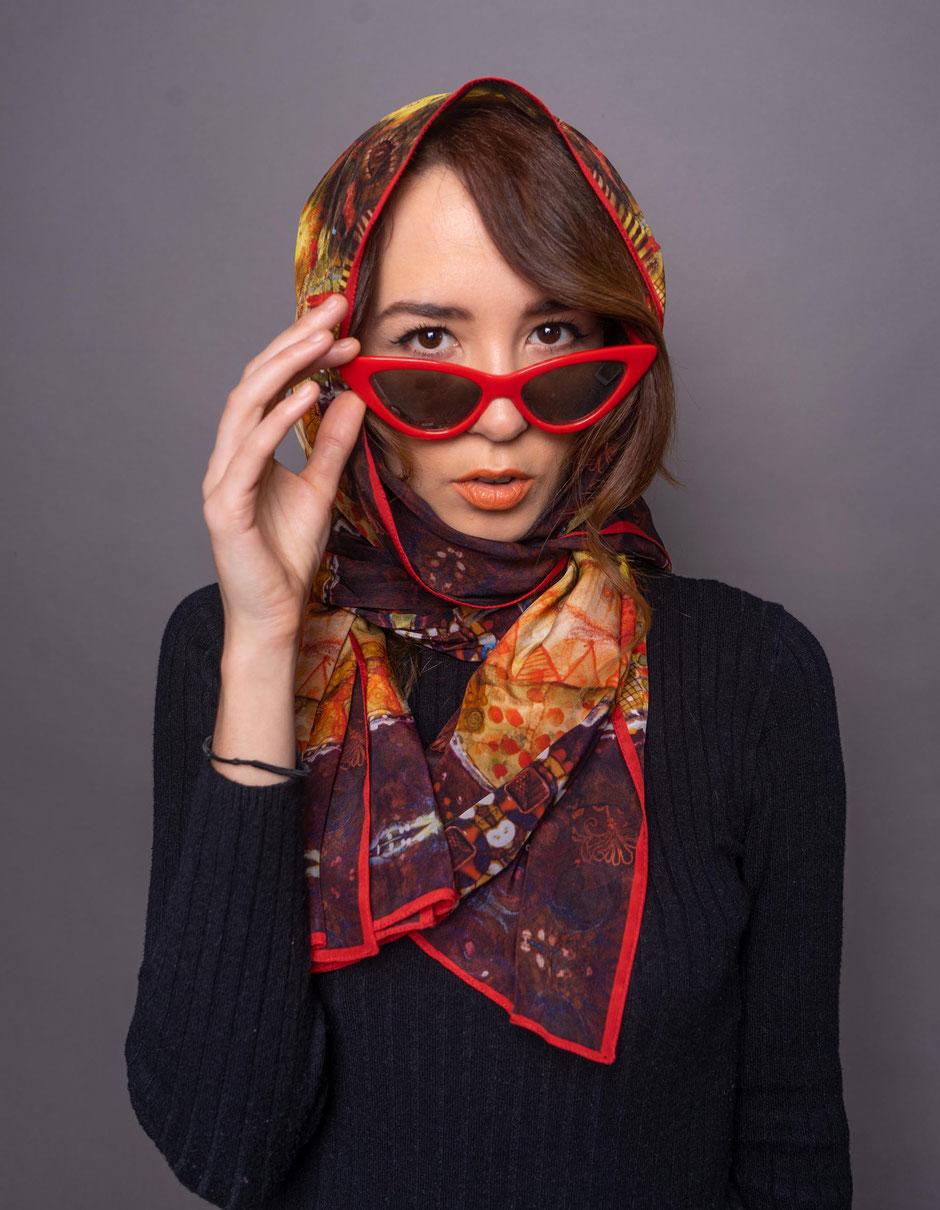 paisley gaudi luxury designer silk scarf