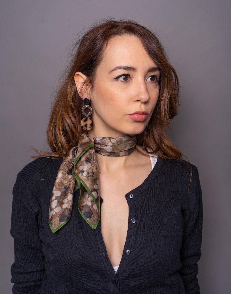 ditsy pear habotai luxury designer silk scarf