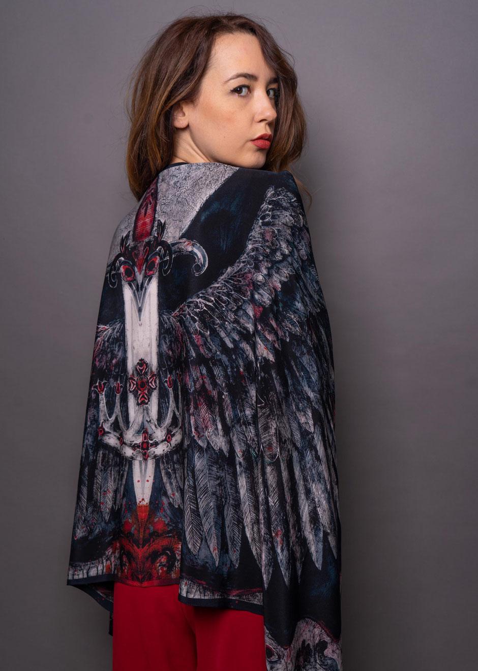 hurly burly romantic macabre crepe de chene designer silk scarf