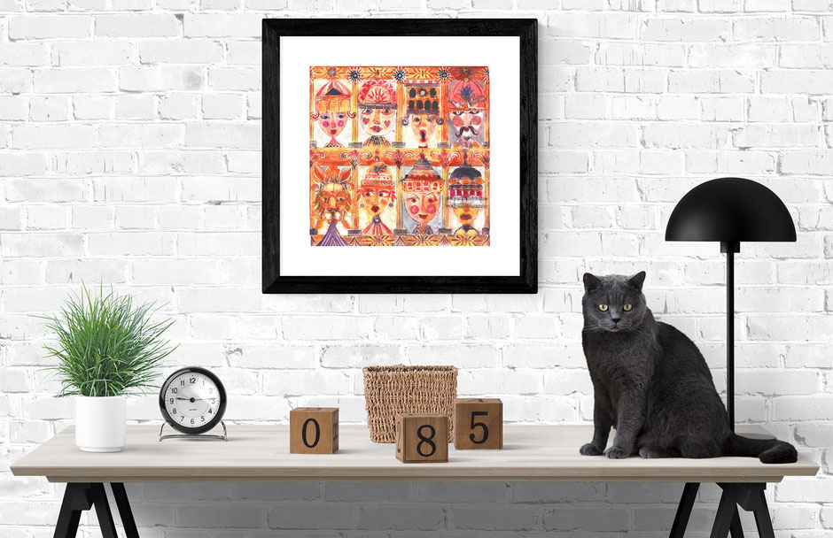 orange buxton festival folks collagraph art print