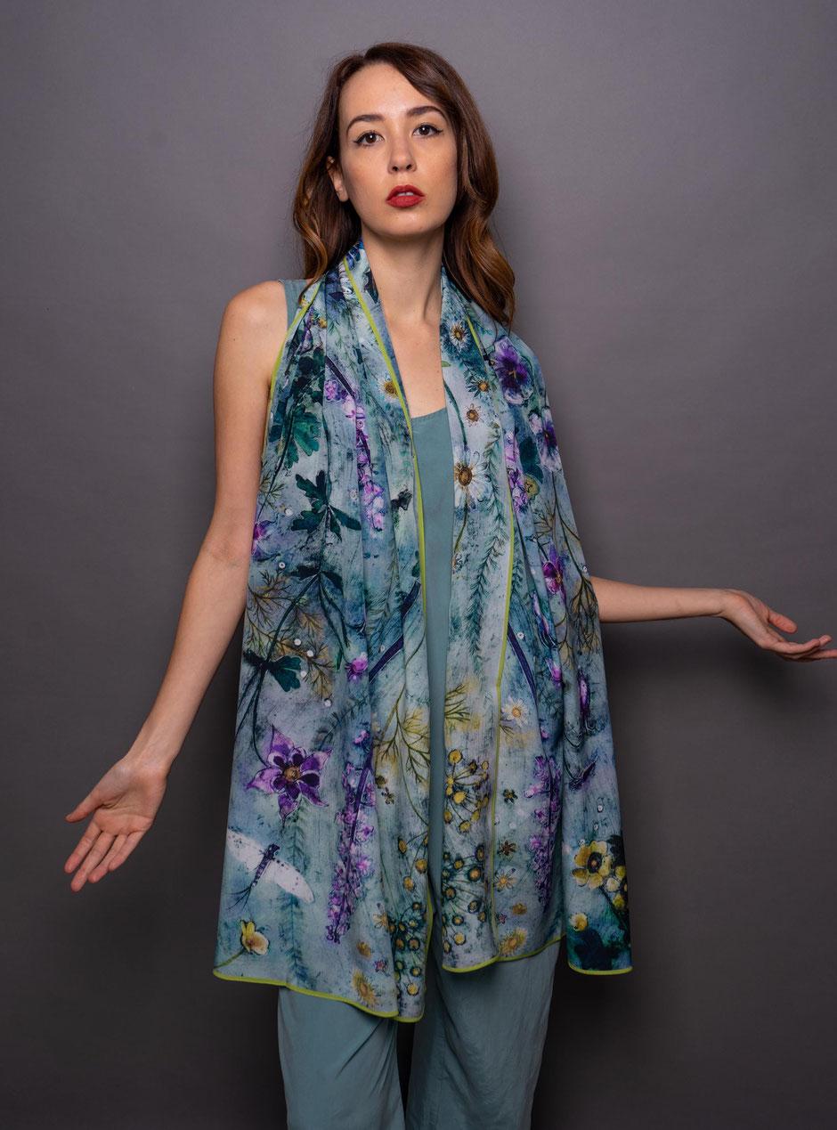 ophelia crepe de chene luxury designer silk scarf
