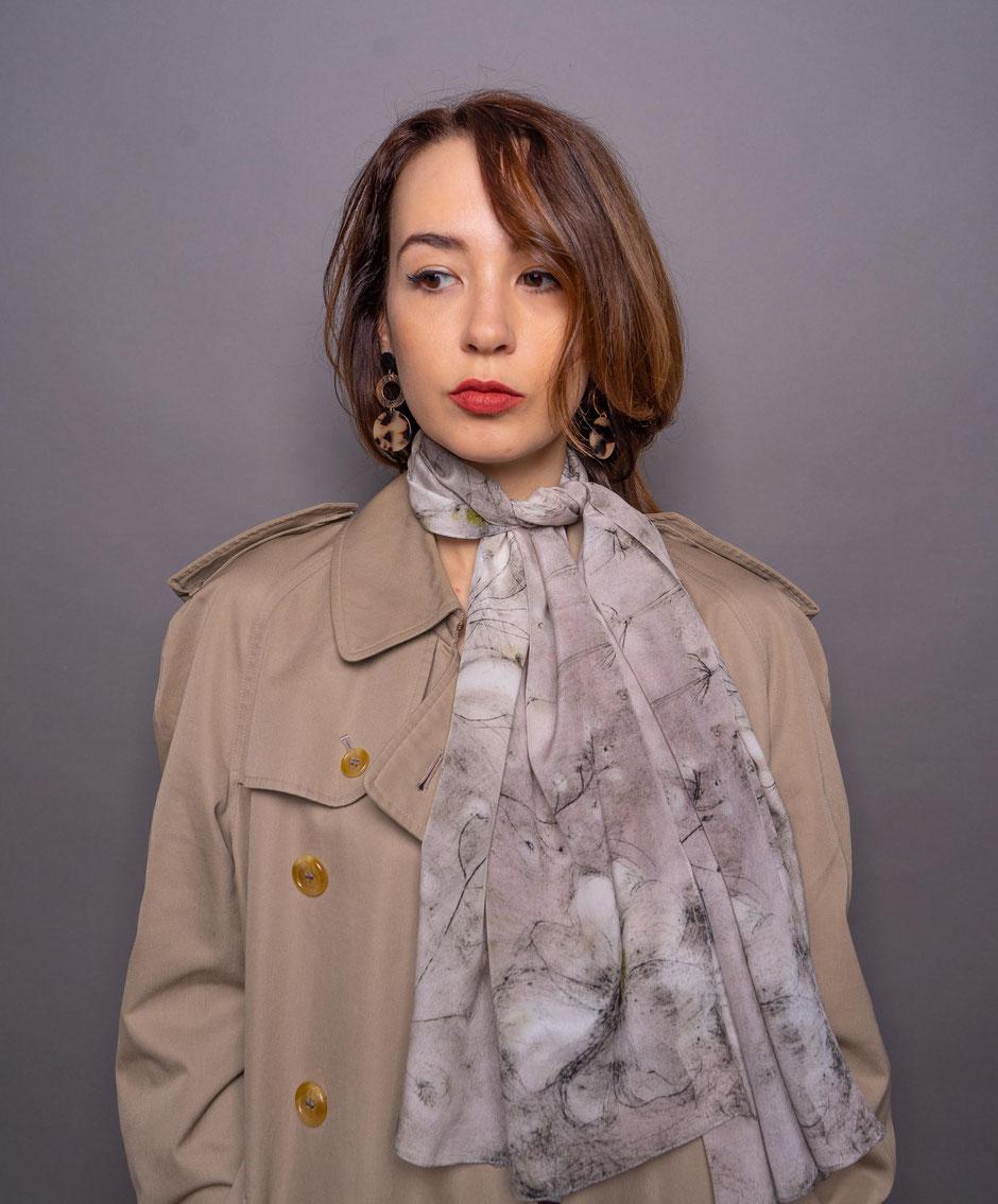vintage garland crepe de chene luxurious designer silk scarf