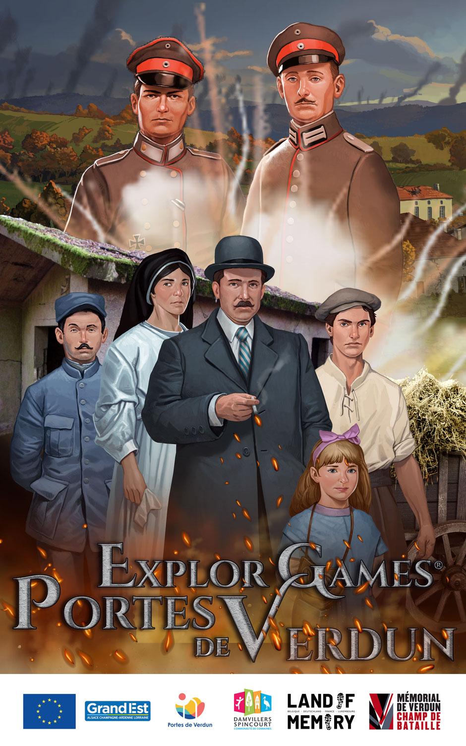 Explor Games Portes de Verdun ; Jeu en famille ; 7 personnages sont présents sur cette affiche, un espion, un soldat français, une petite fille, un adolescent, une infirmière et deux soldats allemands. Ils se tiennent devant un paysage de village dévasté