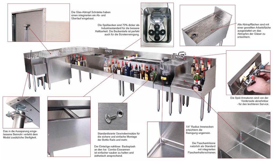 Modulare Gastronomiegeräte für die Bartheke zum Cocktail mixen.