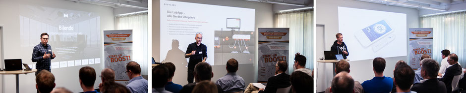Start-ups of the 2. Start-up Boostivals: Bilendo, Bodylabs, Smokeless (from left to right)