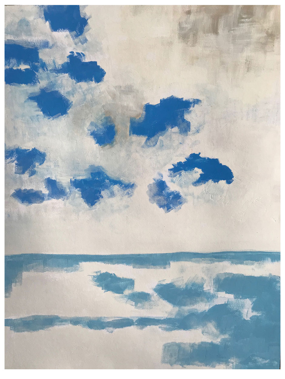 Blue Cloud Syrakus, 2018, Harz-Ölfarbe, 64x50cm, Copyright by Martin Uebele