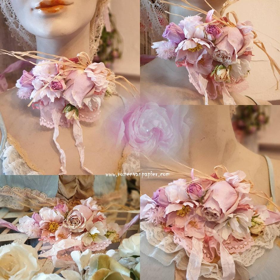Voor bruidsdecoraties ook kransjes, haarkransjes, polscorsages en ceintures, svp vroegtijdig bestellen. Gedroogde en bloemen van papier.