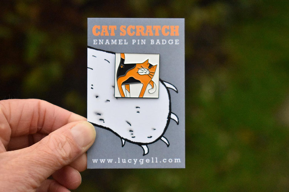 tortoiseshell enamel cat pin badge