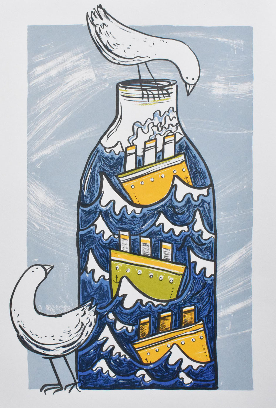 ship in a bottle seagull art print