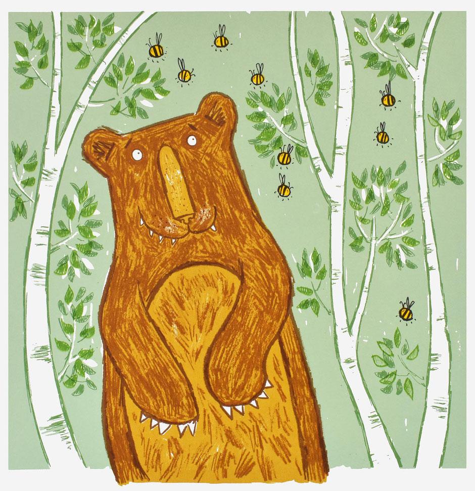 bear bee art print