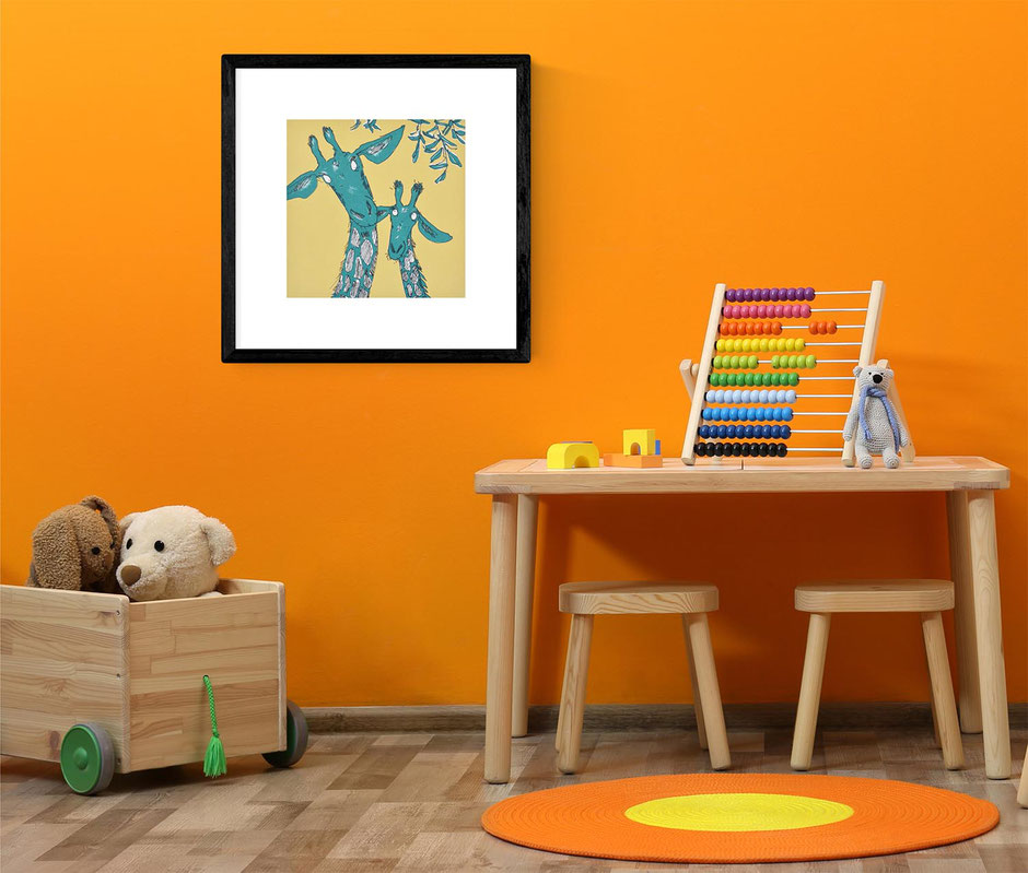 mother and baby nursery animal art