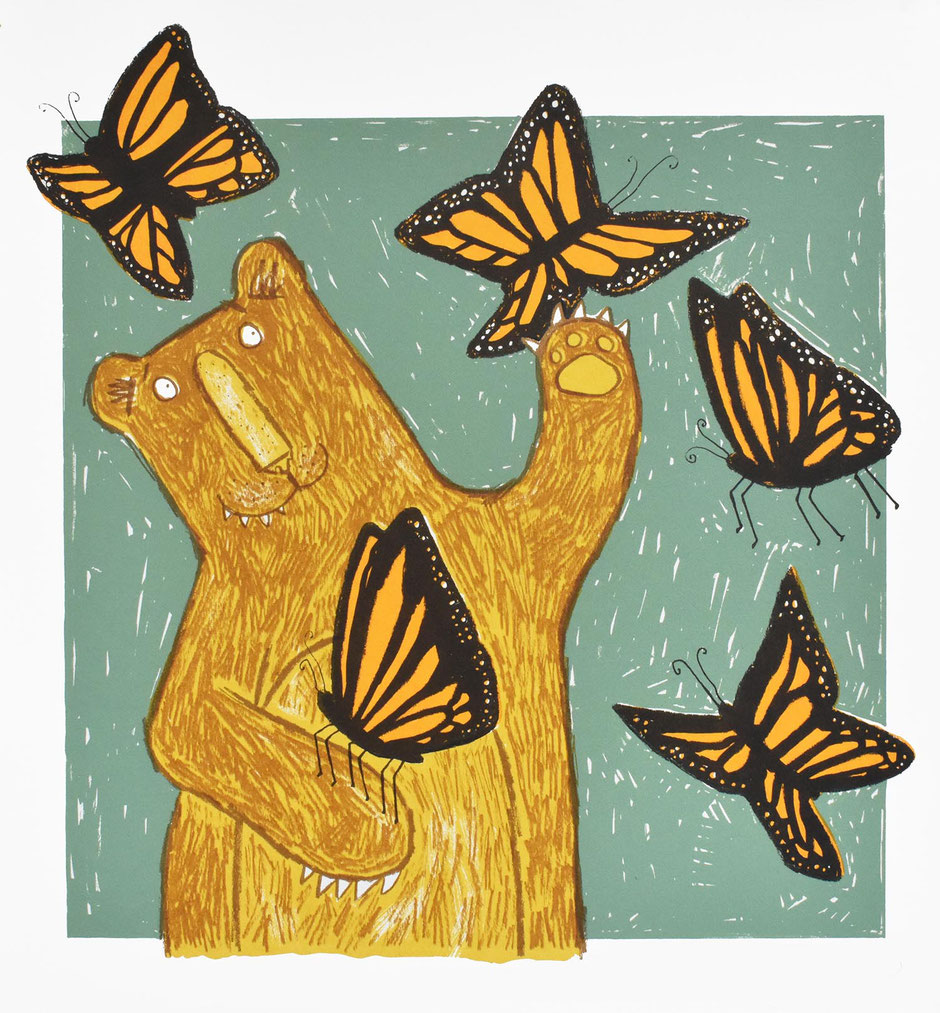 bear and monarch butterfly wall art